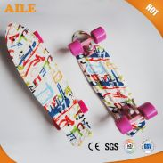 High Quality Nice Graphic Printed Wholesale Plastic Longboard